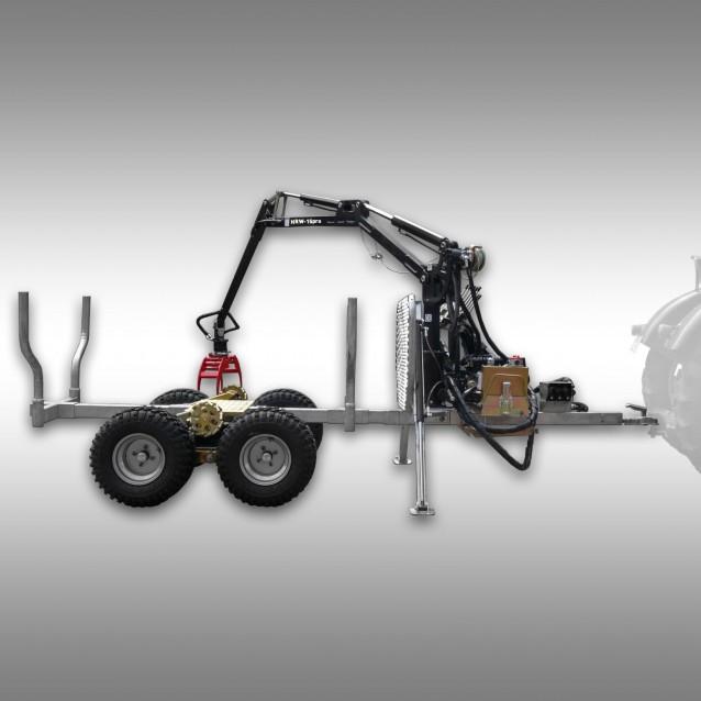 Holzrückewagen Jansen HRW-15pro, verzinkt, Holzanhänger mit Ladekran